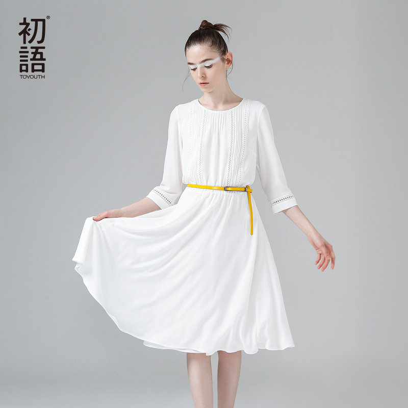 Toyouth New Arrival Dress 2017 Summer Women Pleated Solid O Neck Half Sleeve A Line Lady