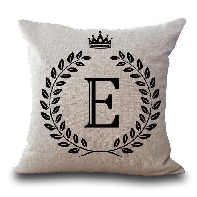 26 Letters Pillow Case Crown 45*45cm Cotton Linen Throw Pillow Cover Letter Decorative Pillowcases