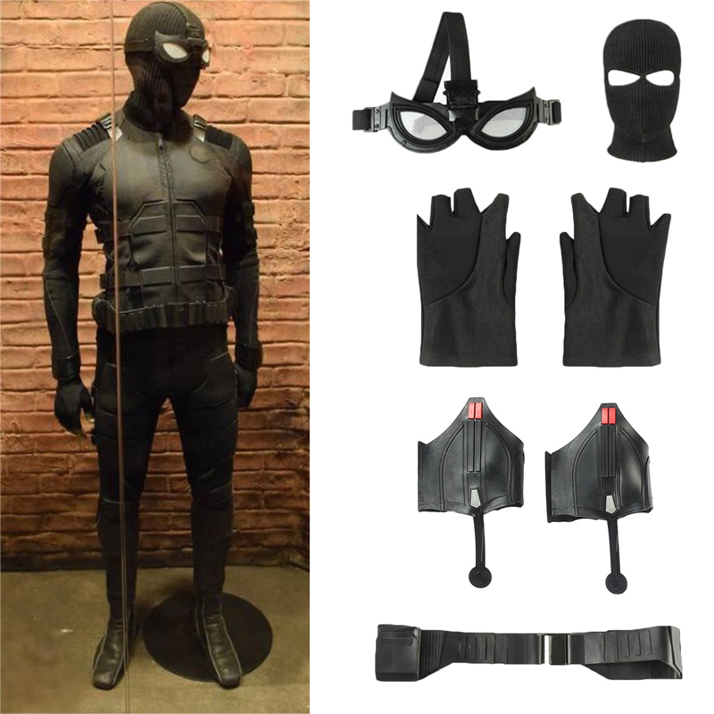 Spider-Man Far From Home Stealth Suit Costume Spiderman Noir Cosplay Mask Belt Web Shooter Props Halloween Carnival Accessories