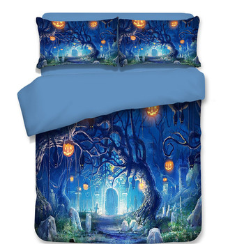 Halloween Bedding Sets Twin Queen King Size Bedclothes Include Duvet Cover Pillowcase Old tree Pumpkin lantern Print Bed Linens