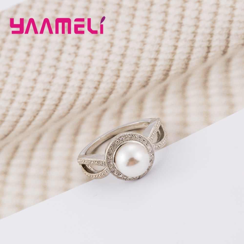 Бренд создан из натуральной 925 пробы серебряного жемчуга обручальные кольца с AAA кубическим цирконием Кристалл для женщин Винтаж новая распродажа