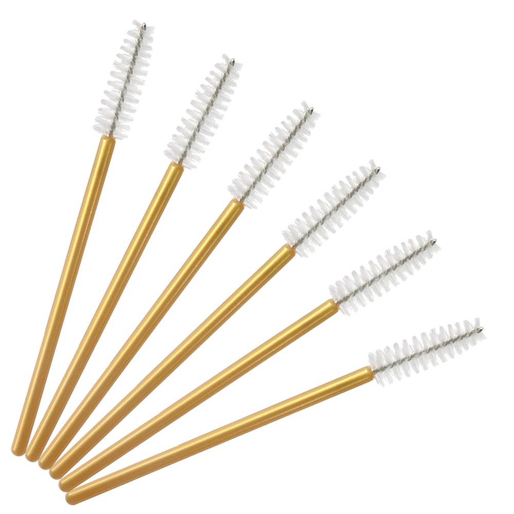 Image 3 - 1000pcs/lot Gold Stick Disposable Mascara Wands Applicator Lash Nylon Makeup Brushes Eyelash Extension Makeup AccessoricesEye Shadow Applicator   -