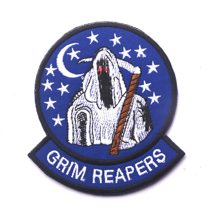 3pcs Embroidery grim reapers Patch Cloth Tactical Patch Military Morale Armband Army Combat Badge Blue