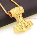 New Arrival Men's Jewelry Gold Plated Stainless Steel Thors Hammer Mjolnir Viking Thor Pendant Chain Necklace