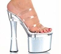 18 cm super hoge hakken met unieke transparante koele slippers, fabriek directe verkoop groothandel vrouwen Dansschoenen