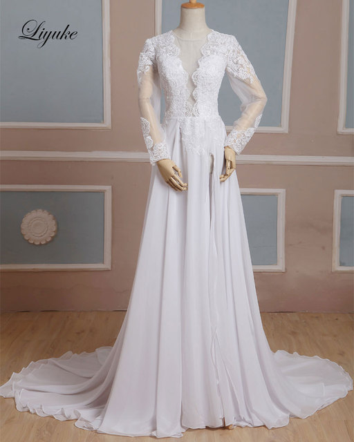 a8ecd85fa38 Liyuke J83 Flowing Chiffon Deep V-Neck Wedding Dress Full Sleeves With  Appliques Lace Backless Front Split A-Line Bridal Dress