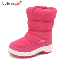 Cute Eagle Winter Girls Nonslip Snow Boots Kids Mountaineering Skiing Warm Snowshoe School Outdoor Activities Eu Size 22 33