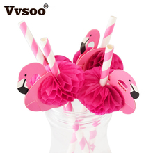 Vvsoo 10pcs Flamingo Paper Drinking Straws Wedding Decoration Baby Shower Birthday Celebration Hawaii Carnival Party Supplies