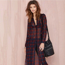 New Sexy Perspective Split Plaid Women Long Blouse Tartan Vintage Sheer Cardigan Casual Chiffon Turn down