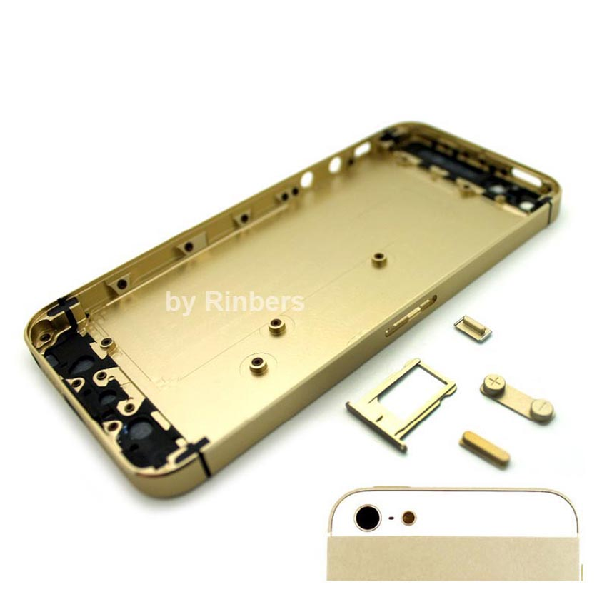 For iPhone 5S Champagne Gold With Black Glass Colorful Bezel Mid Frame Back  Housing Replacement a4aa3bdaee
