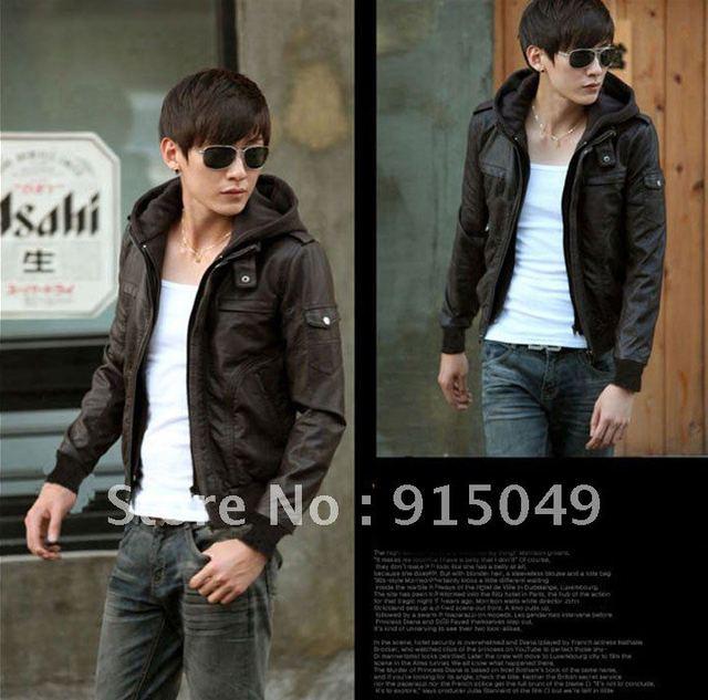 JJ Men's Slim Top Designed Sexy PU Leather Hoodie Jacket Coat Black K1507