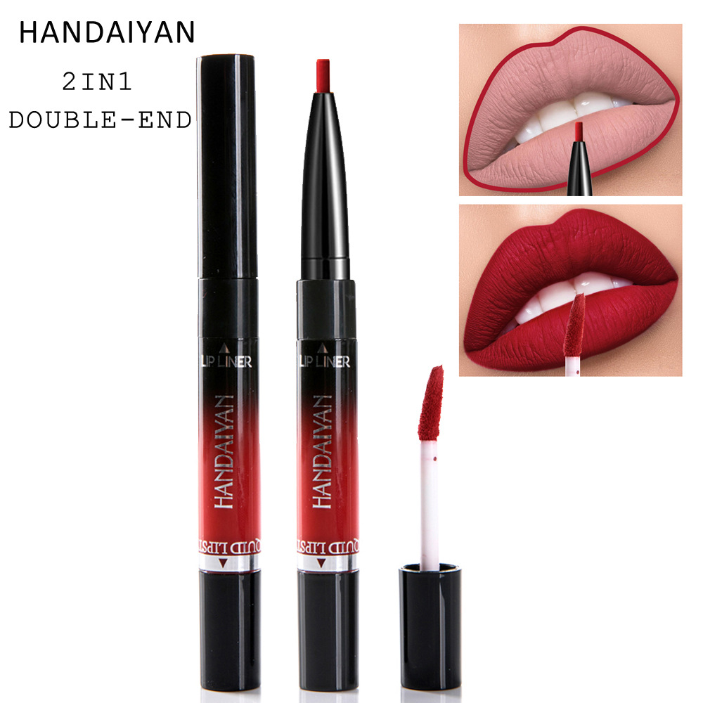 HANDAIYAN 14 colour 2 In 1 Matte Liquid Lipstick&lip Liner Nutritious Moisturizer Lip Gloss Easy To Wear Lip Stain Makeup N45 2