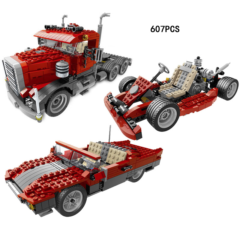 ФОТО Classic creator builder car-styling 3in1 DIY Truck trailer building block Roadster Go-kart model compatible lego4955 boys toys