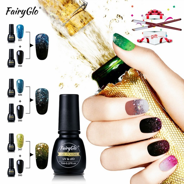 FairyGlo 3pcs Nail Gel Polish 7ML+Nail Art Brush Gradient Set for ...
