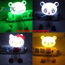 ZGX LED night Light Sensor Control Cartoon Panda Bear Novelty Baby Hello Kitty Lighting Lamp Kids Sweet dream LED US or EU Plug