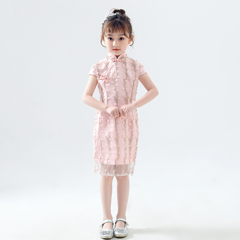 Girls Chinese Style Pink Cheongsam Chinese Ancient And Traditional Hanfu Clothes Kids Girls Playing And Dancing Costumes DQL476