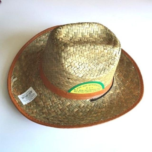 713b28da198c8 2017 Summer Unisex Western Handmade Cowboy Australian Cowboy Straw Sun Hat  With Band Men Beach Wide Color Brim Cowgirl Cap