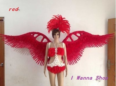 catwalk shows carnival cabaret stage performance clothes wing headwear skirt Angel Feather Wings Costumes Set for women