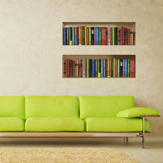 new creative removable book shelves wall stickers home deco 3d wall