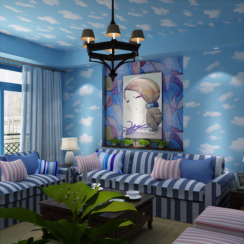 Cartoon Wallpaper For Kid Room Blue Sky White Clouds