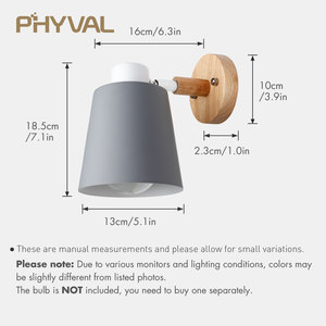 Image 4 - Wall Lamp 10cm Wooden Base 13cm Iron lampshade Nordic Chrome Up and down adjustment steering head E27 lamp holder free shipping
