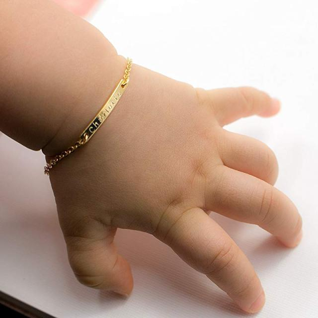 "4"" Chain Baby Name Bar ID Bracelet Gold Hand Chain Stainless Steel Custom Engraved Nameplate Personalized Initial Children Gift"