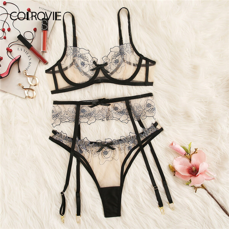 COLROVIE Floral Lace Sheer Garter Sexy Lingerie Set Women Intimates 2019 Underwire See Through Bra And Thongs Underwear Sets