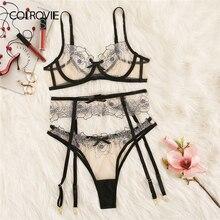 COLROVIE Floral Spitze Sheer Strumpfband Sexy Dessous Set Frauen Dessous 2019 Bügel Durchsichtig Bh Und Thongs Unterwäsche Sets