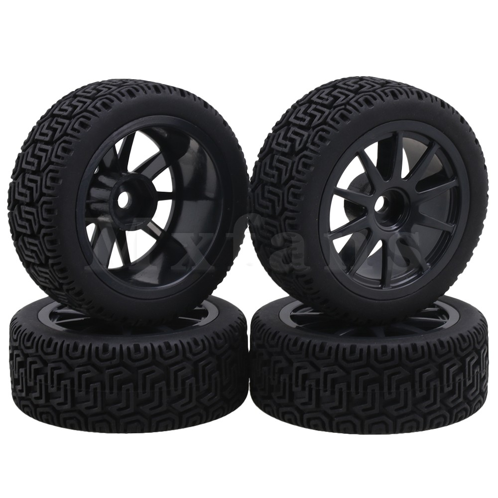 Mxfans Black Plastic V Type Wheel Rims + L Pattern Rubber Tyres for RC 1:10 On Road Racing Car Pack of 4 mxfans 4x black rc 1 10 on road car rubber fish scale tyre