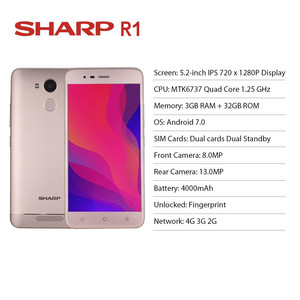 Image 3 - Sharp R1 MT6737 Quad Core Mobile Phone 5.2 Inch 1280x720P 16:9 ratio Smartphone 4000mAh 3GB RAM 32GB ROM Android Cellphone
