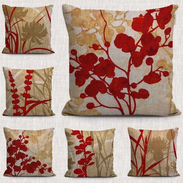 Rojo de la vendimia floral planta cubre cojines - Cojines pintados a mano ...