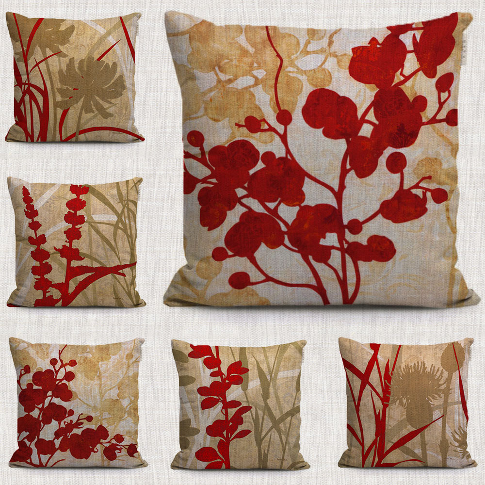 online get cheap red decorative pillow aliexpresscom  alibaba group - vintage red floral decorative pillows covers hand painted plant cottonlinen throw pillows cases for home