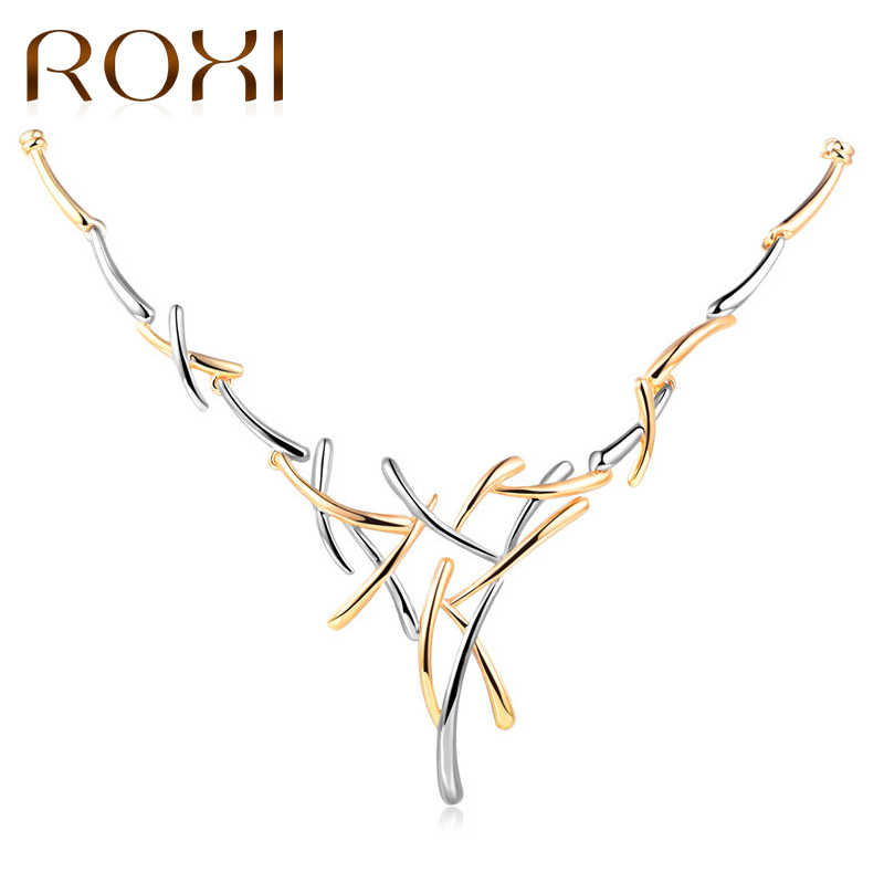 ROXI Silver/Gold Color Metallic Choker Necklace Cross Necklaces for Women Punk Style Female Statement Necklace Party Jewelry