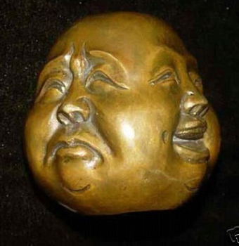 Collectibles Rare Chinese Tibet Brass 4 Faces Buddha Head Statue Figures 5x6cm