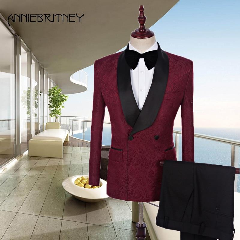 Latest Men Designer Suit Burgundy Mens Suits Pattern Wedding Double Breasted Black Satin Shawl Laple Groom Blazer Jacket 2 Piece