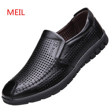 New 2019 Designer Casual Genuine Leather Shoes Men Summer Breathable Holes MEIL Brand Flat loafers Shoes for Men Zapatos Hombe 2017 new arrival high quality genuine leather luxury brand summer men casual shoes breathable holes black brown khaki