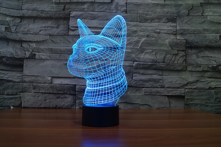 Creative 3D LED 7 color Cat Side face changing visual illusion light bedroom light action figures PMMA table lamp free shipping