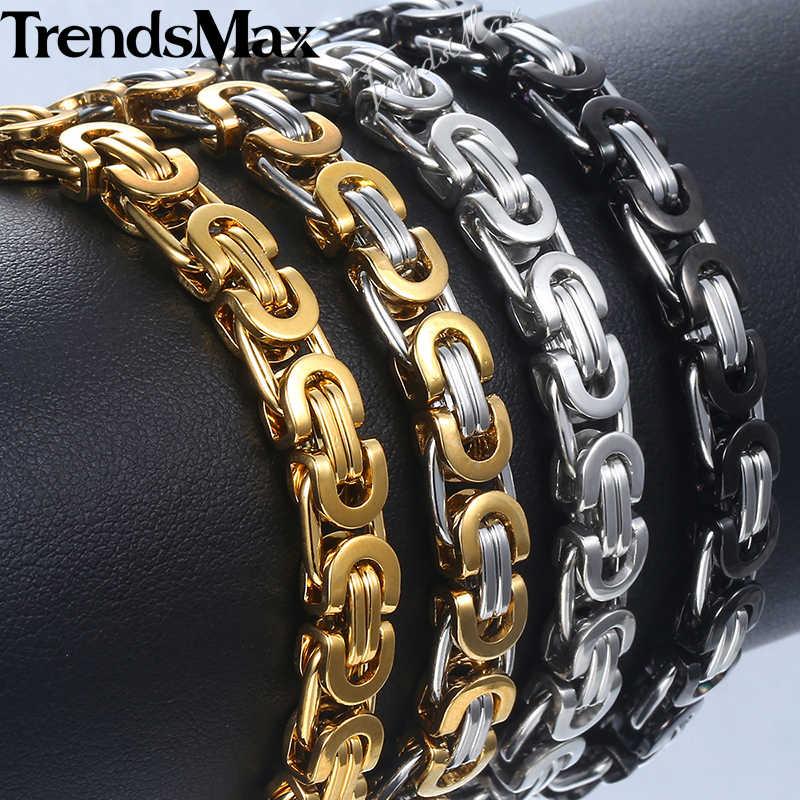Bransoletka męska czarny srebrny złoty bizantyjski Link Chain bransoletka ze stali nierdzewnej dla biżuteria męska hurtownie Dropshipping 7mm KBB1A