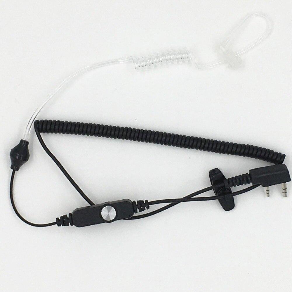 новы 2-кантактны рэгуляваны аб'ём вечка паветранай акустычнай трубкі PPT навушнікі для радыё Walkie Talkie Headset Microphone для Baofeng uv-5r