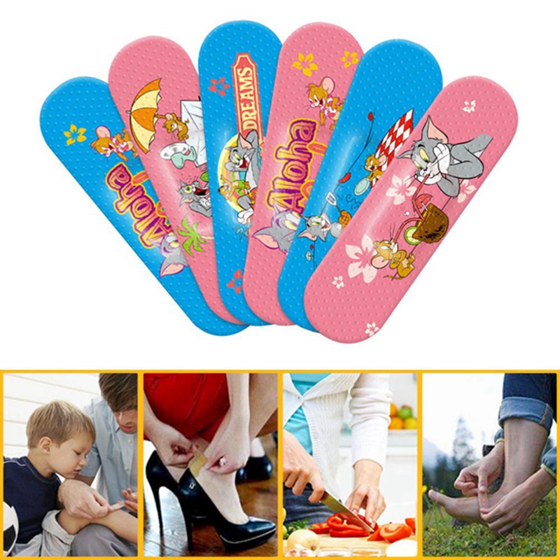 2019 New 100pcs Cartoon Cute Tin Paste Breathable Waterproof Band Aid Bandages Hemostasis First Aid Kit For Kids Children Home