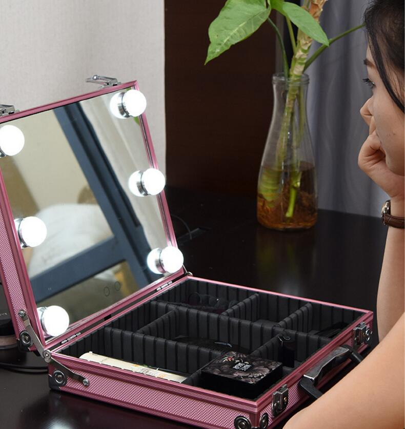 Touch Screen Make Up Mirror Decor Mirror With LED Lighted Cosmetic Mirror Suitcase,Illuminated Vanity Cosmetic Makeup Mirror mirror touch synaesthesia