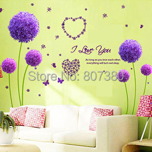 Removable Wall Stickers Houseware Purple Dandelion Decal Home Decoration - Rose-Jewelry store