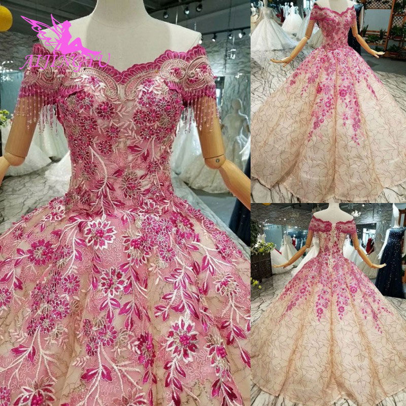 AIJINGYU Lace Bridal Dress For Sale Sexy Collection Original Pearl Floral Pricess Gown Stores Wedding Dresses Turkey