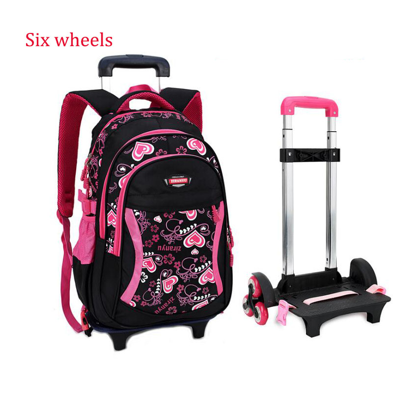 Six Wheel Students Removable Backpack For Grils School Bags Children Trolley Nylon Orthopedic Backpacks for Teenagers Mochila