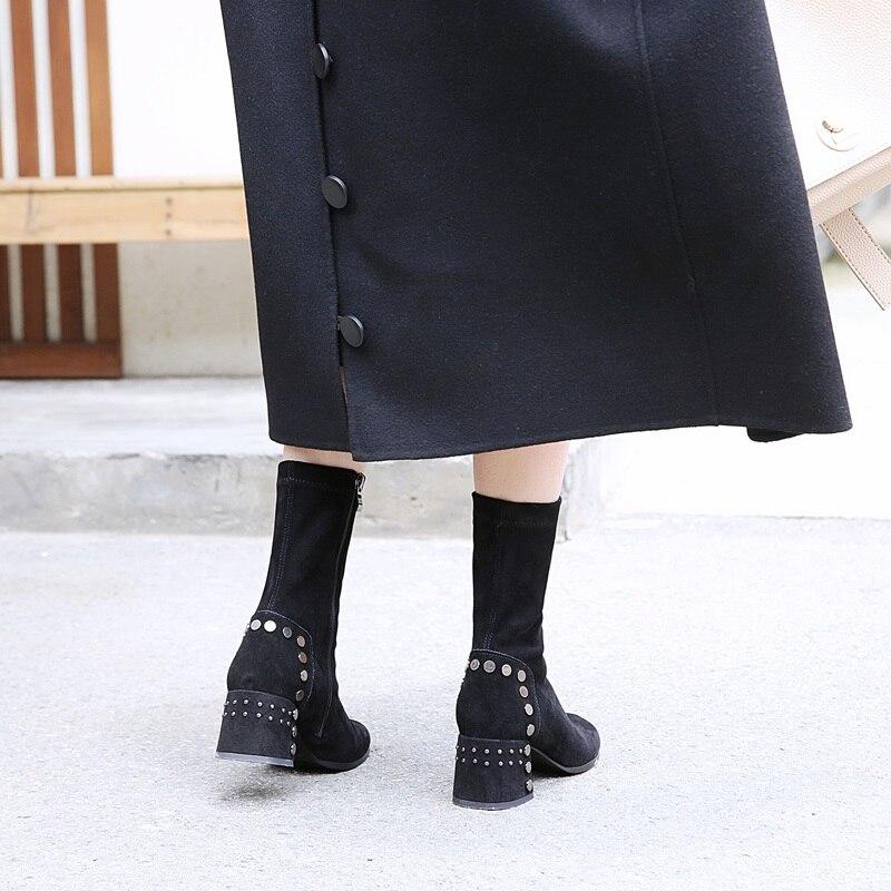 Rebaño Zvq Negro Invierno Ternero Remache Con 2018 33 Pie Redonda Moda Metal Short Más Mediados 40 Punta Cremallera Mujeres De Black Zapatos Tamaño Botas CCrZ5q0