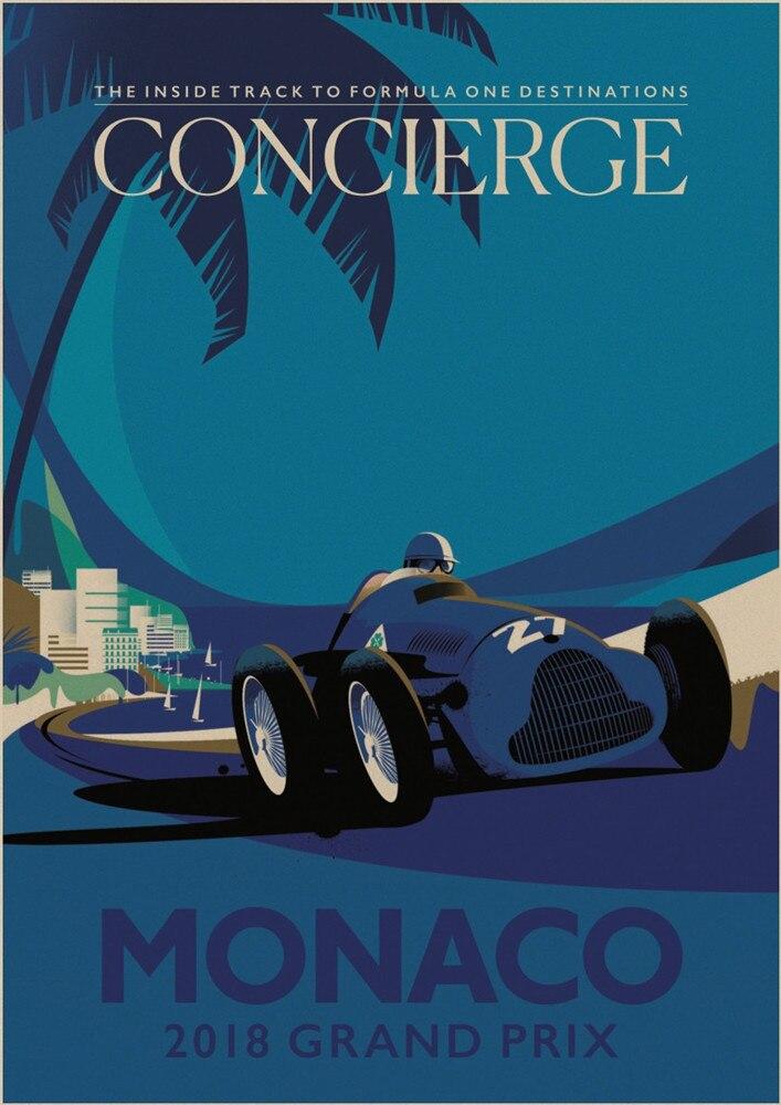 1930 Monaco Grand Prix Vintage Style Formula Race Car Poster 24x36