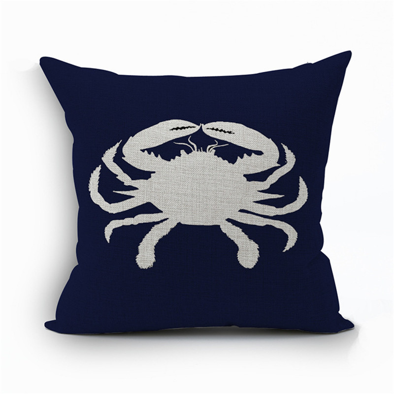 Nautical Throw Pillow Cases : Sea Turtle Fish Crab Cushion Cover Nautical Throw Pillow Case Sofa Car Decor Invisible Zipper-in ...