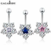 2017 Hot selling Women's Belly Button Fashion Surgical Steel Rhinestone Dangle Belly Snowflake Navel Piercing Ring