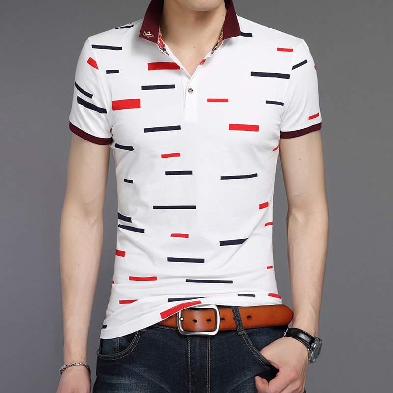 ac5273b16654 New Men s Cotton Polo Big Sizes Classic Short Sleeves Geometric Pattern  Business Shirt Male Slim Fit Brands Masculina Fashion