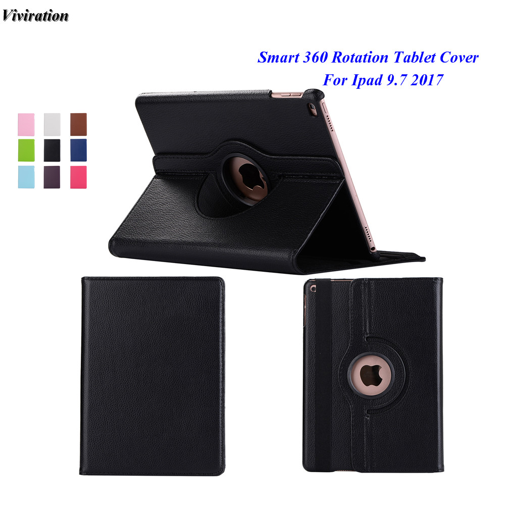 New Arrival Flip Tablet Cover Wake / Sleep PU Leather Tablet Case For iPad 9.7 2017 A1822 360 Degree Rotating Stand Smart Cover for ipad air 2 case 360 degree rotating stand leather case smart cover with automatic wake sleep function for ipad6